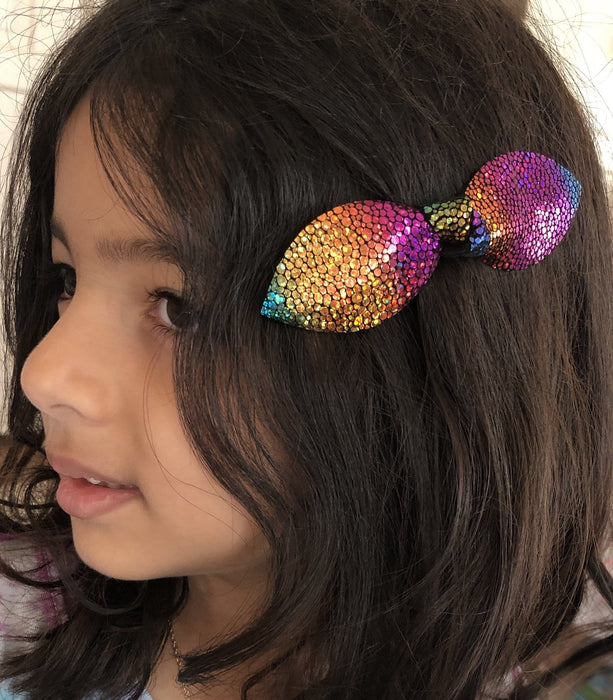 Girls Large Knot Leather Hair Bow Clip - Metallic Bright Rainbow