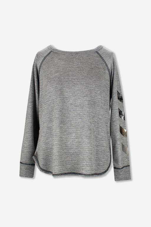 Raglan Crew Shirttail - Charcoal Military Chevron
