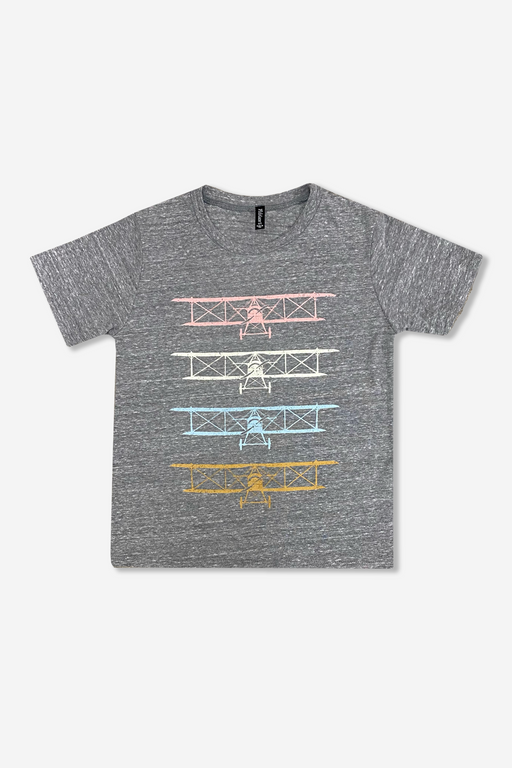 Boy's Short Sleeve Graphic Tee - Grey Airplanes