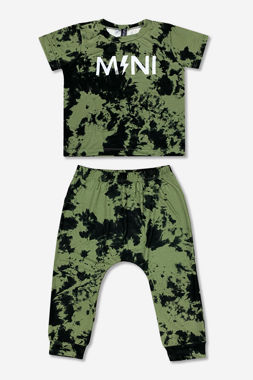 Short Sleeve Tee & Harem Set - Olive Black Tie Dye Mini