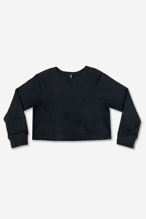Skimmer Crew Top - Black Waffle