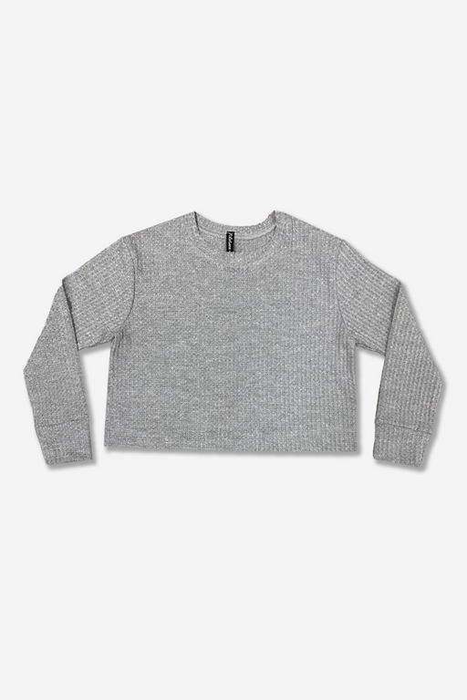 Skimmer Crew Top - Heather Grey Waffle