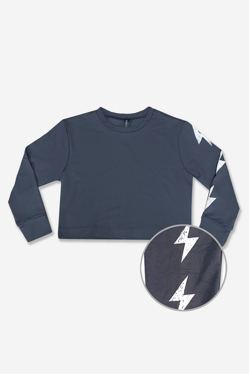 Skimmer Crew Sweatshirt - Charcoal White Bolts
