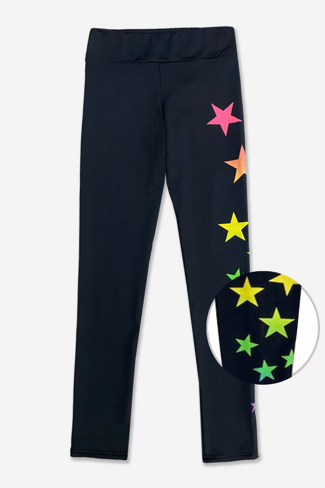 Simply Soft Long Legging - Mid Rise - Black Rainbow Ombre Stars