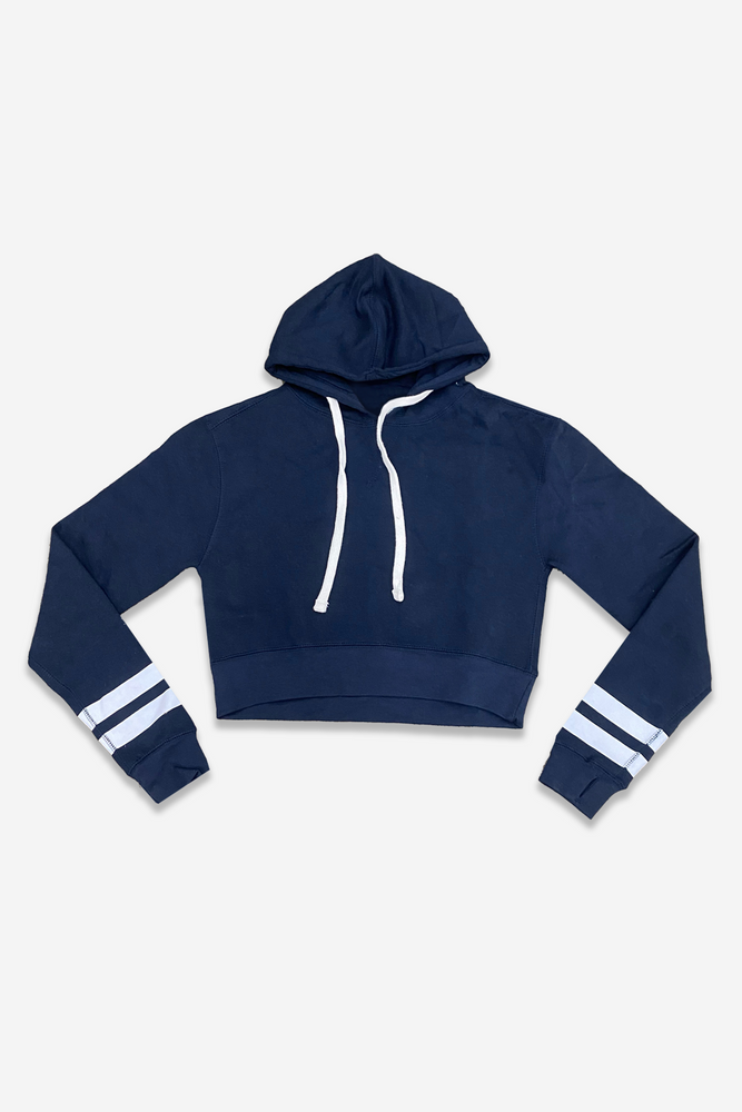 Oversized Boxy Skimmer Hoodie - Navy White Stripes