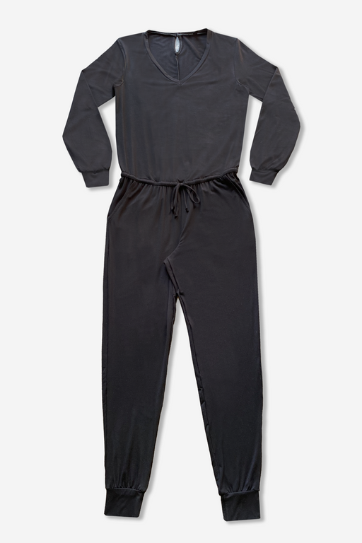 Women's Balloon Sleeve Jumpsuit - Black