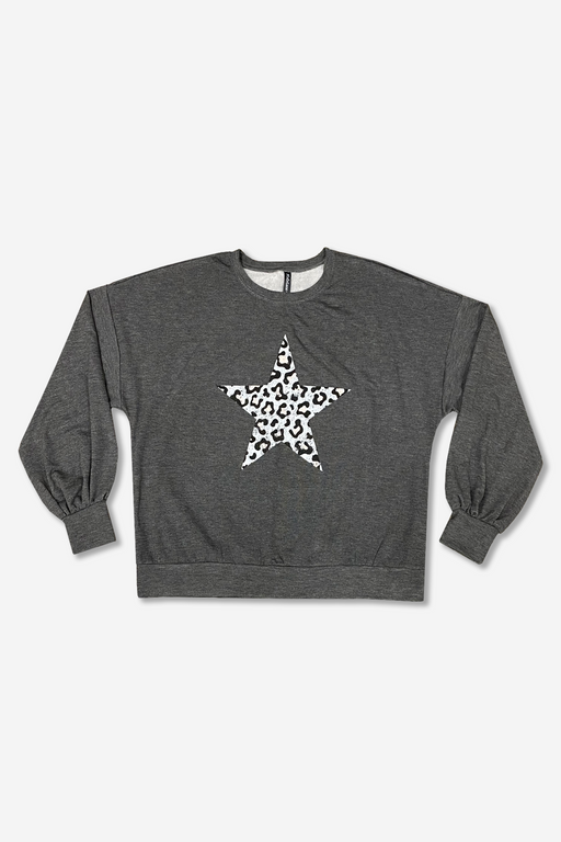 Women's Balloon Sleeve Sweatshirt - Charcoal Leopard Star