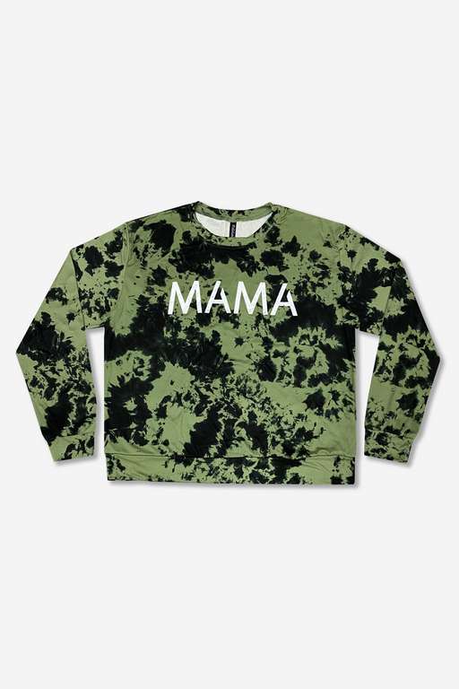 Women's Long Sleeve Crew Top - Olive Black Tie Dye Mama