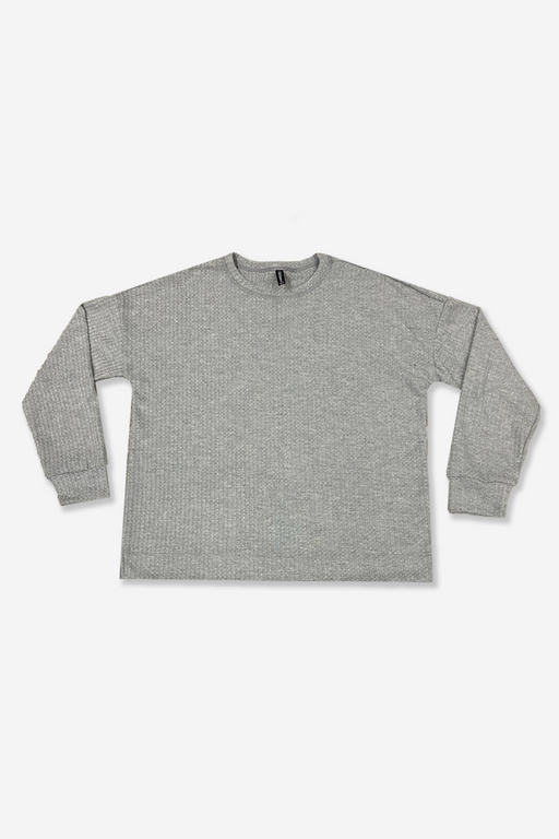 Women's Wide Hem Top - Heather Grey Waffle