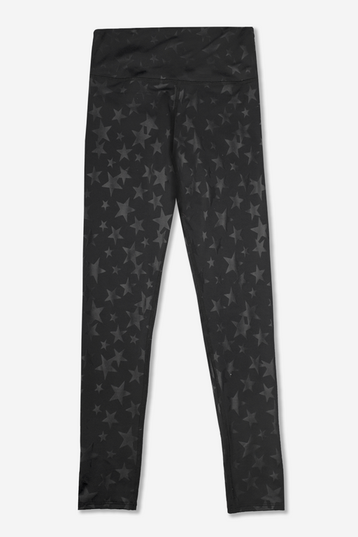 Women's Long Legging - Specialty - Black With Black Stars