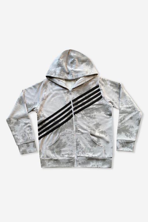 Zip Hoodie - Grey White Tie Dye Strapping