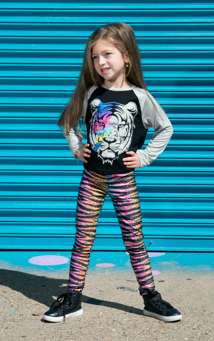 Long Legging - Printed - Glitter Rainbow Tiger