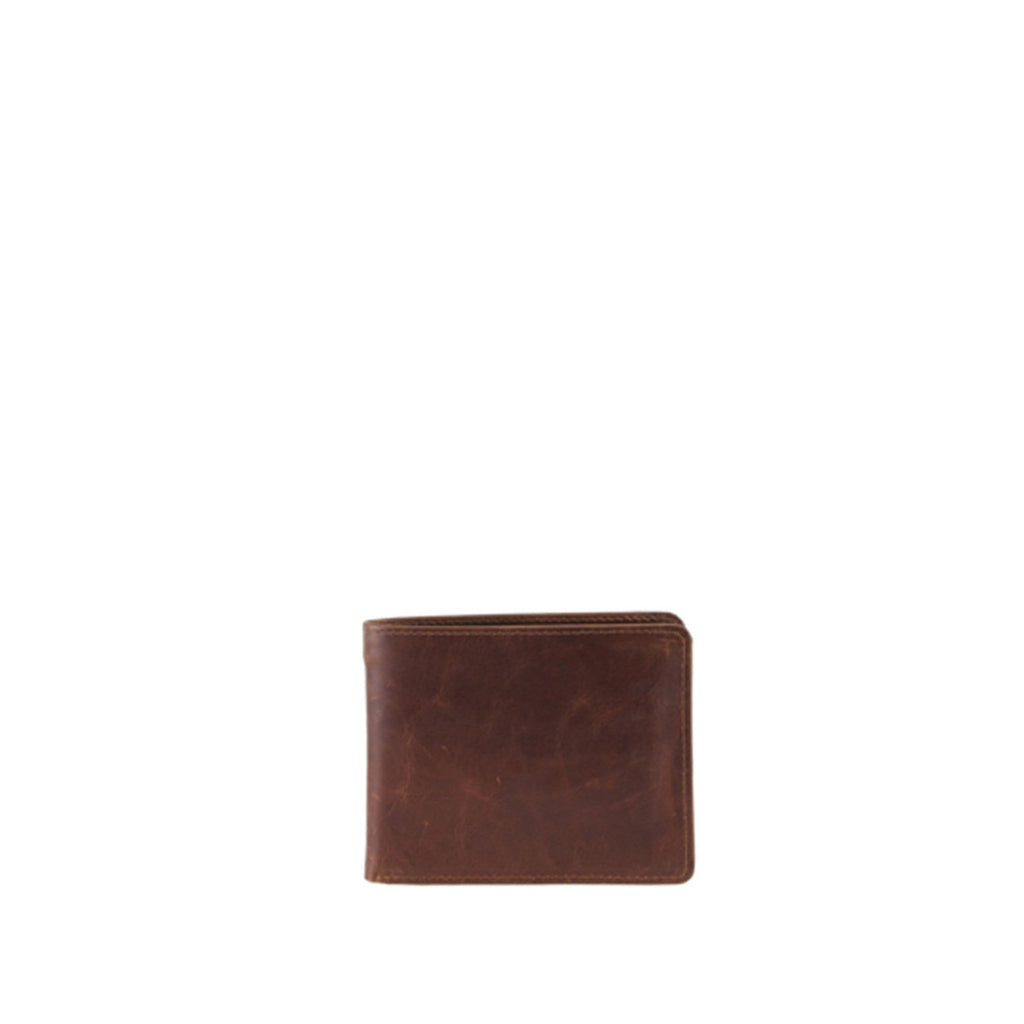 Tan Distressed Leather Wallet - W746