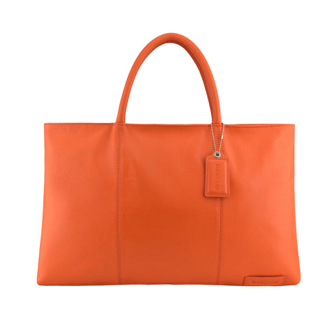 Orange Leather Folio Tote - A399