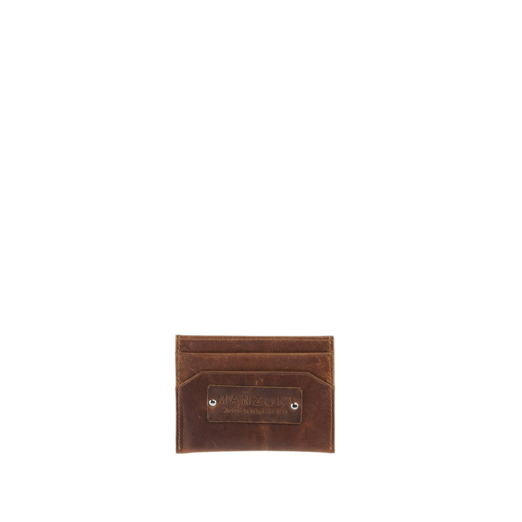 Tan Distressed Leather Card Holder Wallet - WN9D