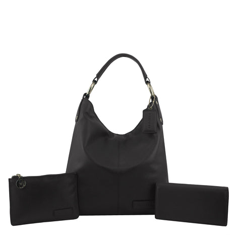 Black 3 Piece Leather Handbag Set - N11Pack