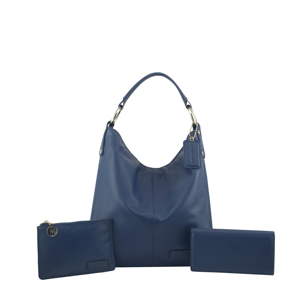Navy 3 Piece Leather Handbag Set - N11Pack