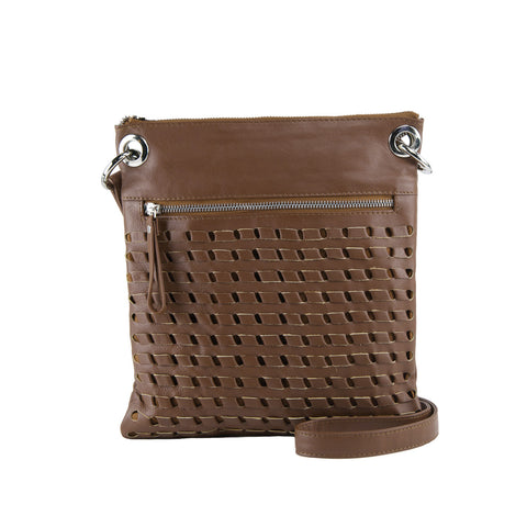 Cocoa Woven Leather Crossbody - N576