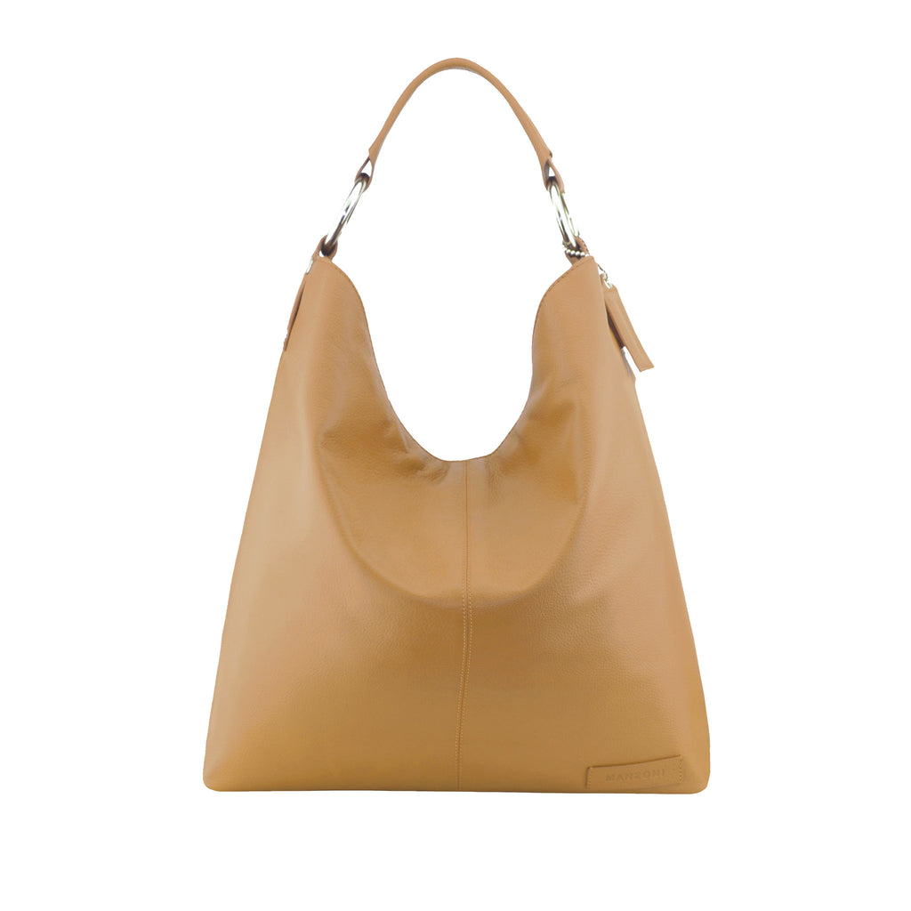 Camel Leather Shoulder Bag - N16