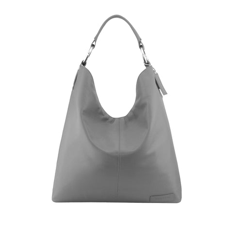 Grey Leather Shoulder Bag - N16