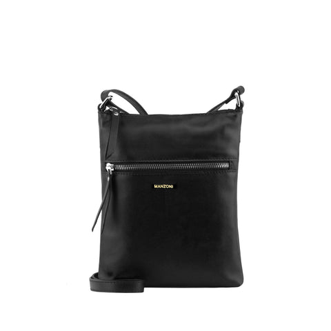 Black Zip Front Leather Crossbody - MA803