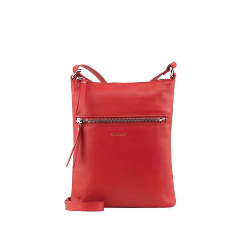 Red Leather Zip Fronted Crossbody - MA803