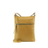 Camel Leather Zip Fronted Crossbody - MA803