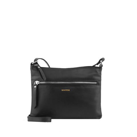 Black Zip Front Leather Crossbody - MA804