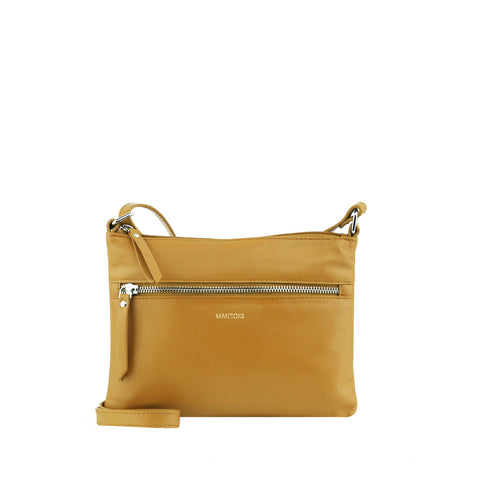 Camel Leather Zip Fronted Crossbody - MA804