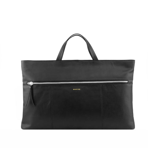 Black Leather Zip Fronted Tote - MA810