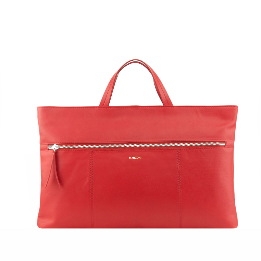 Red Leather Zip Fronted Tote - MA810