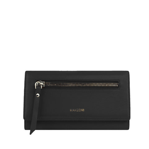 Black Leather Bifold with Zip Front - MA811