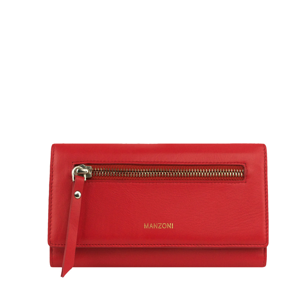 Red Leather Bifold with Zip Front - MA811