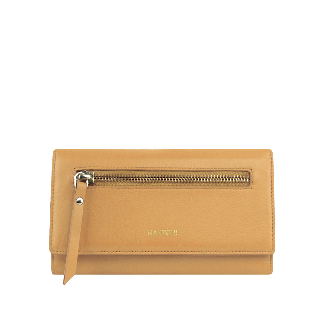 Camel Leather Bifold with Zip Front - MA811