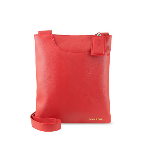 Red Leather Shoulder Strap Crossbody - A128L