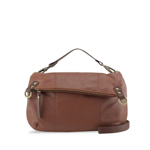 Tan and Cocoa Large 5 Way Crossbody Handbag - N562