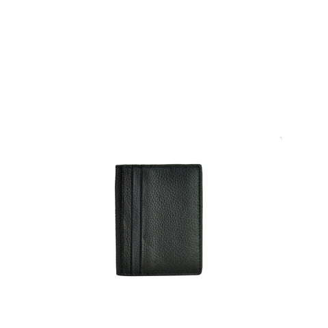 Black Pebble Leather Card Holder - W763