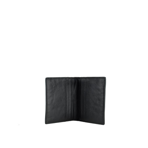 Black Soft Pebble Leather Card Holder - W763