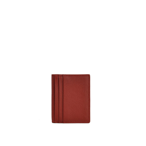 Red Pebble Leather Card Holder - W763