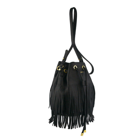 Black Fringe Drawstring Crossbody - MA056