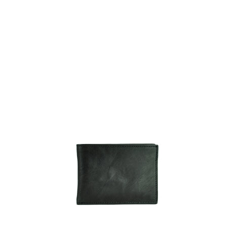 Black Leather Mens Slimline Bifold Wallet - W764