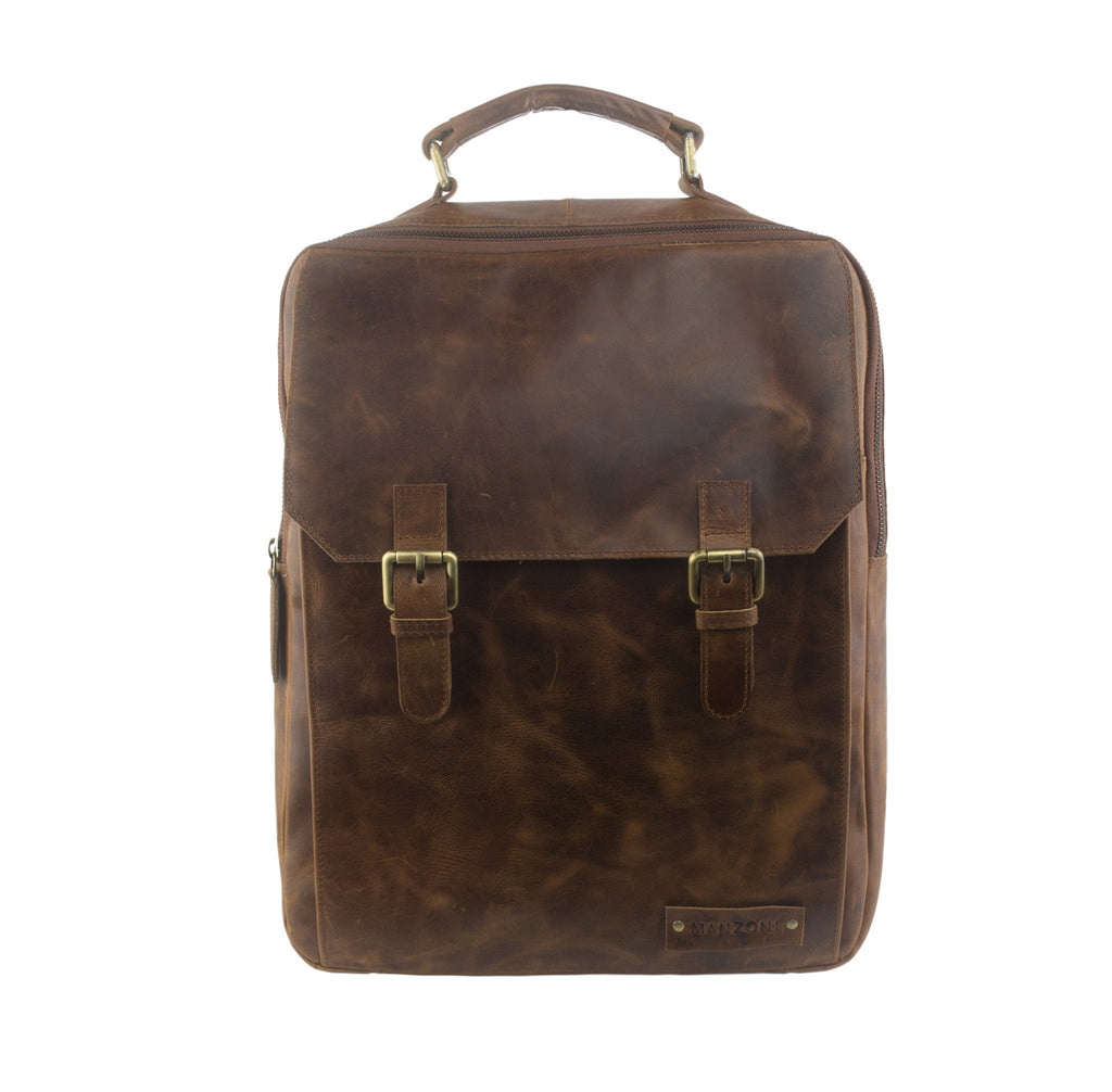 Tan Distressed Leather Backpack - MA082