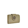 Biscuit Button Detail Leather Wallet - W566