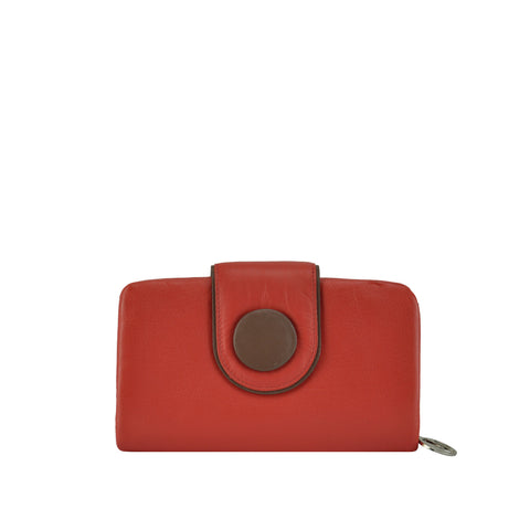 Red Button Detailed Leather Wallet - W566