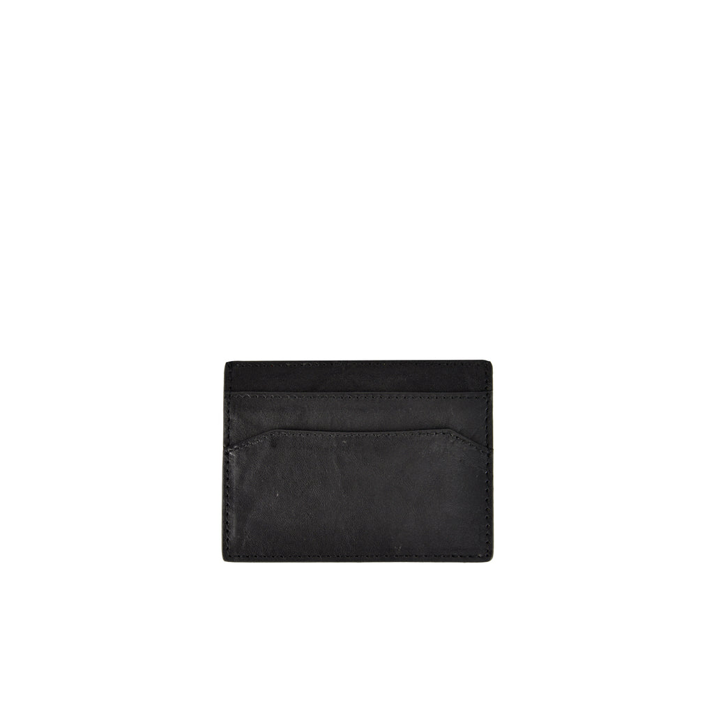 Black Crumble Leather Credit Card Holder - W762