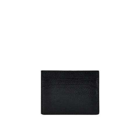 Black Pebble Leather Credit Card Holder - W762