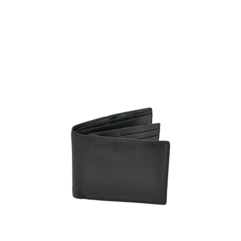 Black Leather Mens Slimline Trifold Wallet - W765C