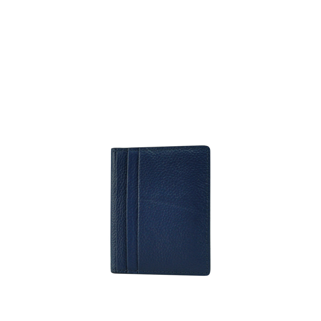 Navy Leather Card Holder - W763