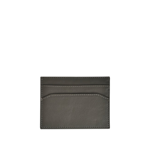 Grey Pebble Leather Credit Card Holder - W762