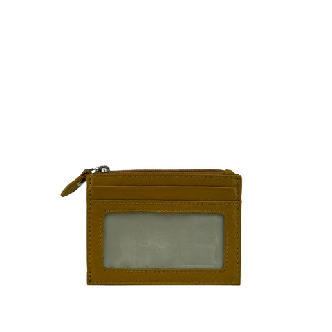 Gold Moss Leather ID and Coin Wallet - W767